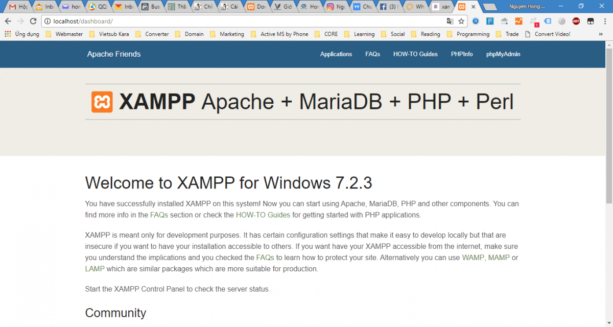 Cài Đặt Xampp Trên Windows - Welcome to Xampp- DashBoard