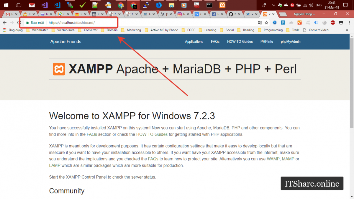 Cài đặt SSL cho Xampp trên Windows - Completed - Welcome to Xampp - DashBoard SSL - localhost